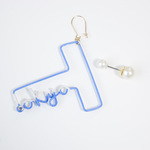 〔Archive Sale〕Arty Wire Pierced Earrings - T for Tokyo BLUE