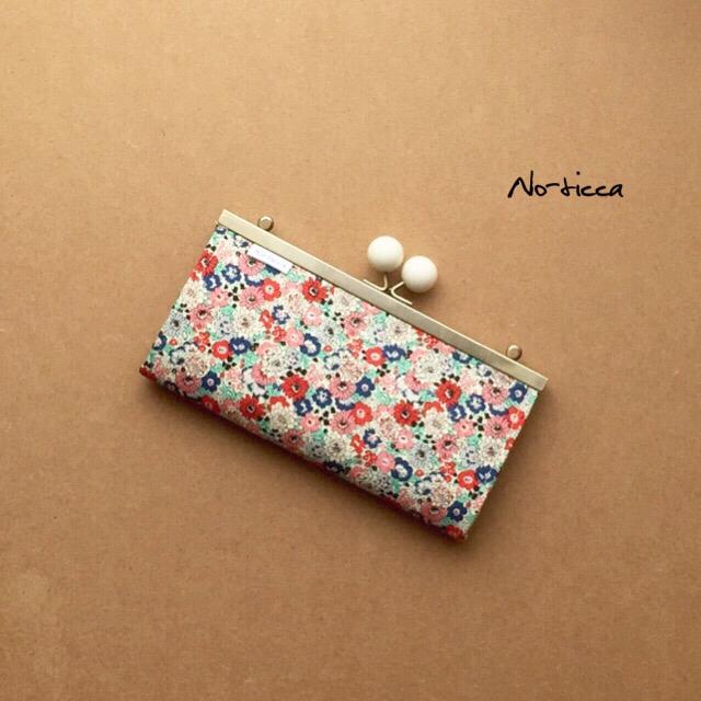 2WAY見せ財布★大人ミント&レッド花柄がま口長財布