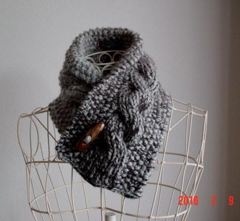 男女フリー☆彡天然の水牛製のボタンのgradationの鹿の子編み&rib縄編みのCowl Neck Warmer