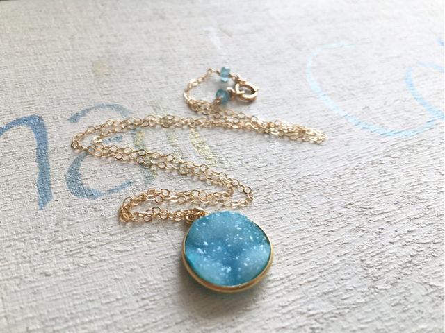 ☆再販☆ Coastal Druzy Necklace 14kgf  ドゥルージー