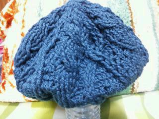 アラン模様のベレー帽(ぶるー)