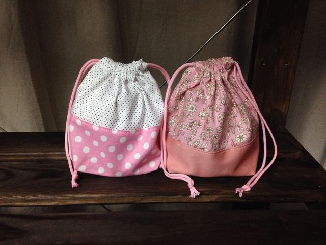 コップ袋2枚セット.ピンク