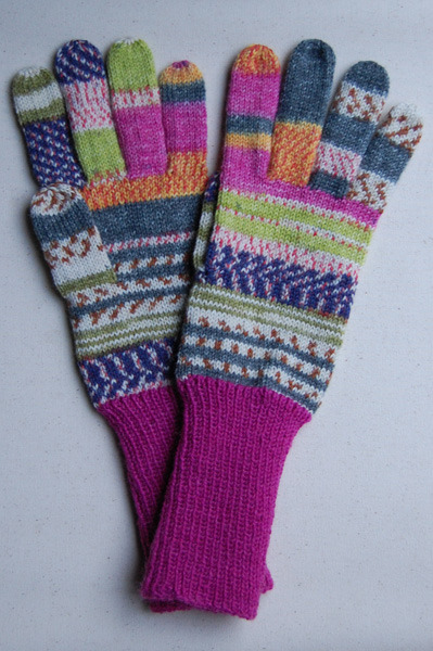 手編み5本指手袋 No.16