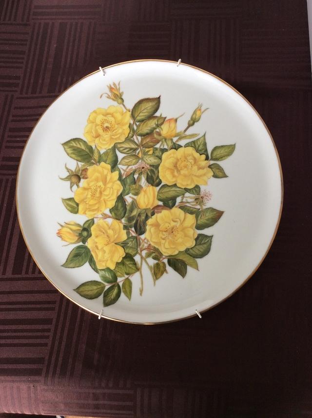 黄色いバラの絵皿