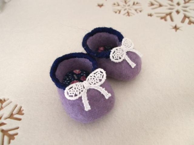 羊毛フェルト ミニベビーシューズ(薄紫)