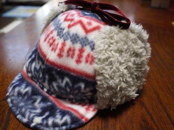 暖かい耳当てのついた帽子 50センチ用
