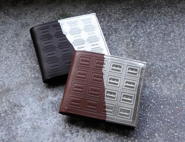 革のチョコレート・二つ折り財布 ビター(銀の包み紙)