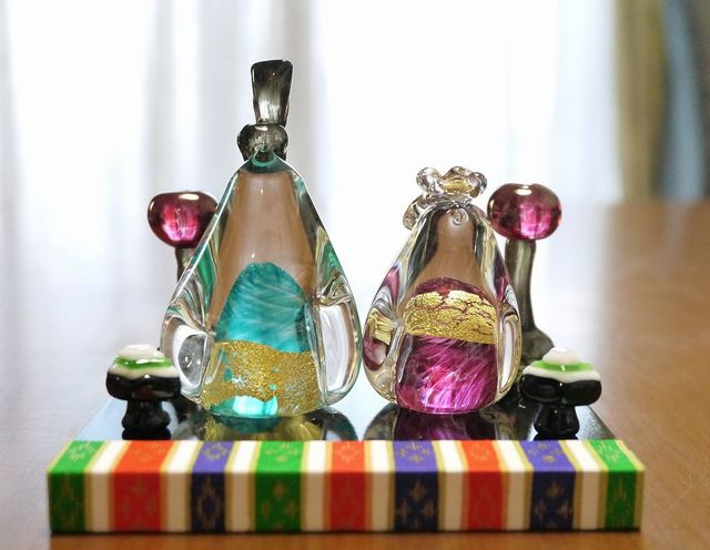 【maki0205さまご予約品】ガラスのペンギンお雛様(ターコイズブルー&ピンク)
