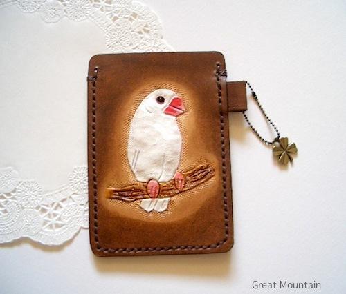 文鳥 パスケース  鳥グッズ 白文鳥 革 レザー カードケース 文鳥グッズ