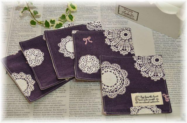 【  Sale   】 紫ドイリーのコースター5枚セット