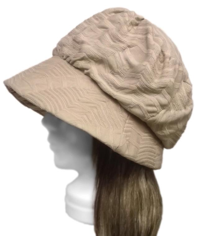 変り織ボーダー調ニット/セレブ帽子(ゆったり)◆ベージュ