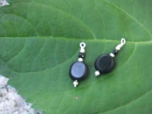 black glass + silver beads