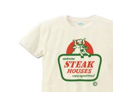アメコミ・ステーキハウス看板 XS(女性XS〜S)   Tシャツ【受注生産品】