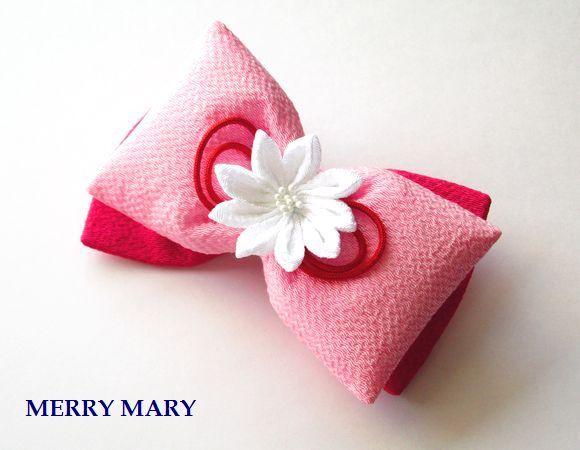 【送料無料】 はいからリボン バレッタ <白・ピンク・赤紫>
