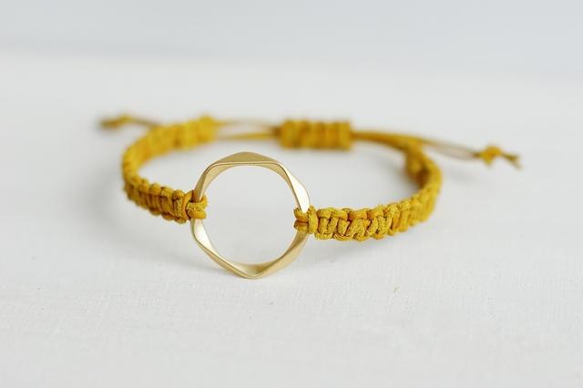 再販:レザーブレスレット*yellow×gold