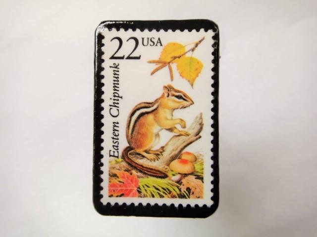 アメリカ 野生動物切手ブローチ 812