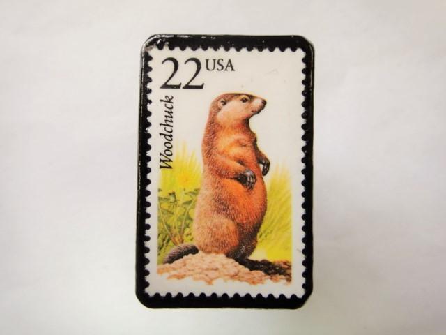 アメリカ 野生動物切手ブローチ 814