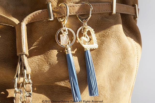 Leather Tassel Key Holder -Laced Heart-