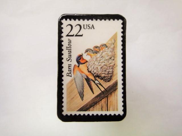 アメリカ 野生動物切手ブローチ 820