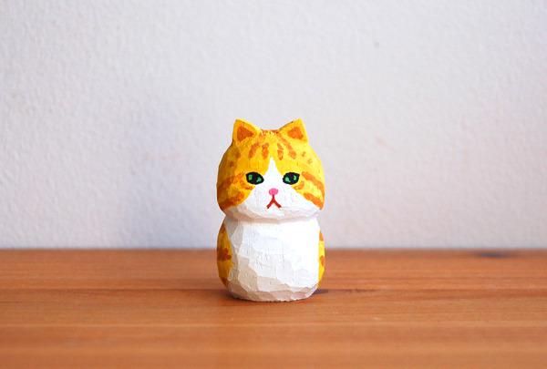 木彫り人形 チャトラ×白  [MWF-048]
