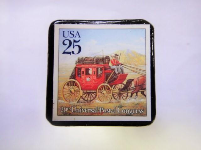 アメリカ 郵便輸送切手ブローチ 827
