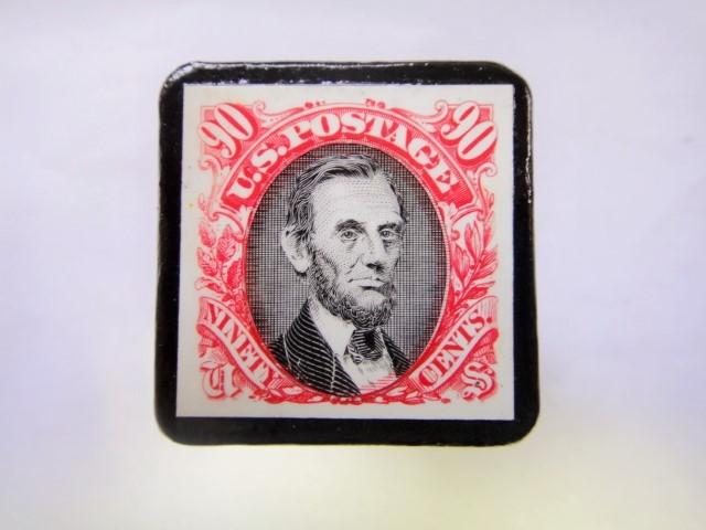 アメリカ 切手ブローチ 833