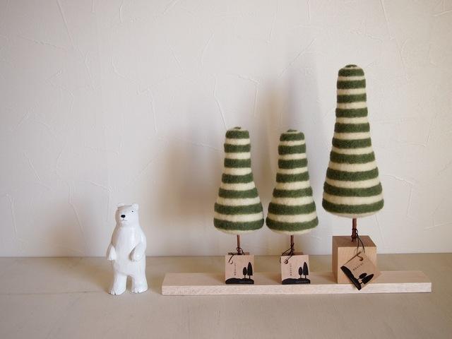 シマシマの木 (L) 緑×白