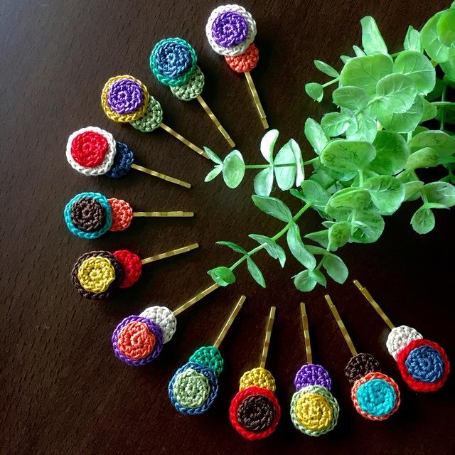 レトロポップ◎まるまる手編みのヘアピン(2本セット)