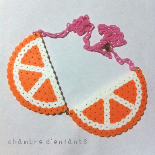 スライスオレンジつけ襟ネックレス