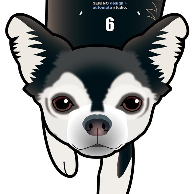 D-31 チワワ白黒(短毛)-犬の振り子時計