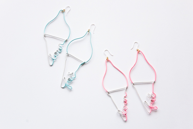 Arty Wire Pierced Earrings - low fat jelato