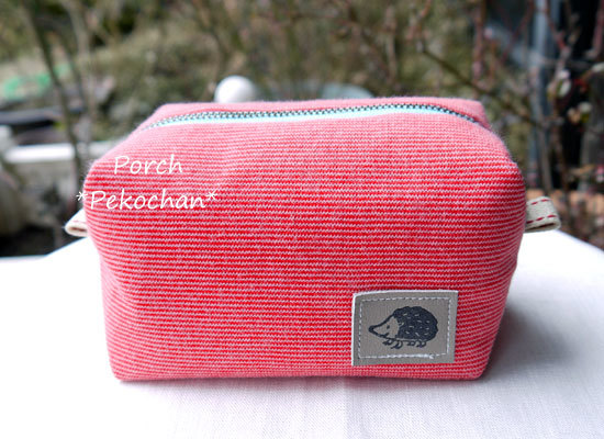 ニット生地のボックスポーチ・ほそーーい赤×ピンクボーダー8♪