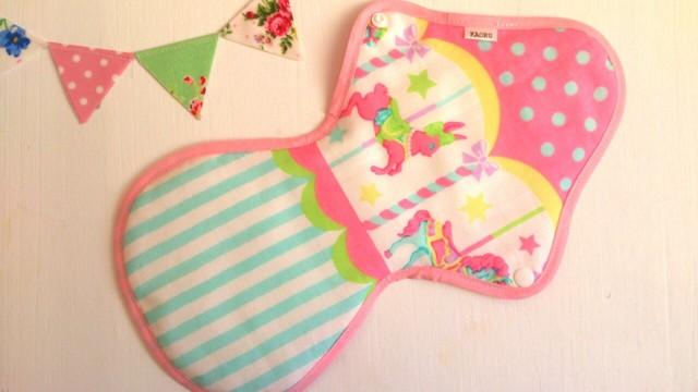 可愛い布ナプキン『メリーゴーランド』pink+夜用LLサイズ