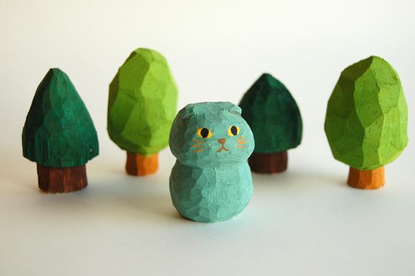 木彫り人形 スコティッシュフォールド モス  [MWF-049]