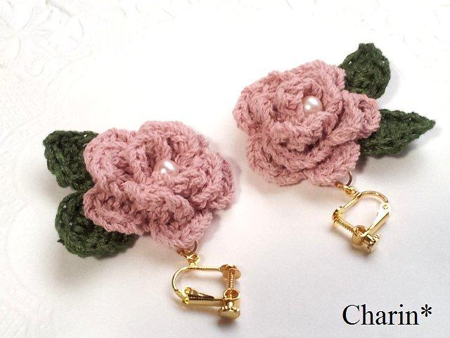 ピンクのバラのイヤリング
