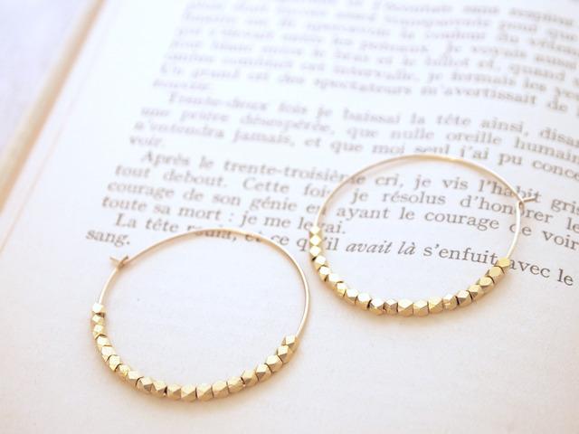 14KGF Metal Beads Hoops / S