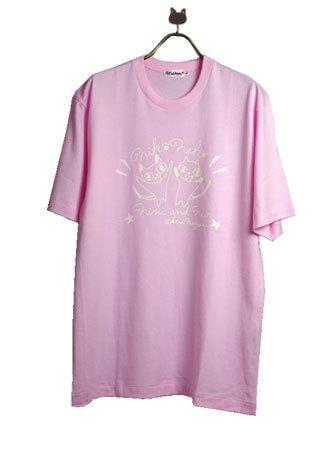 ニコネコpt ピンク半袖Tシャツ LL