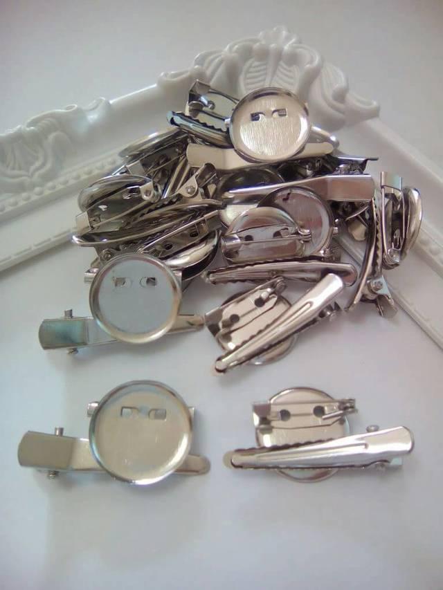 15個 お皿付ブローチヘアクリップピン 19mm B194
