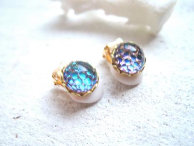☆再販☆ Sea bubble earrings  ヘリオグリーン