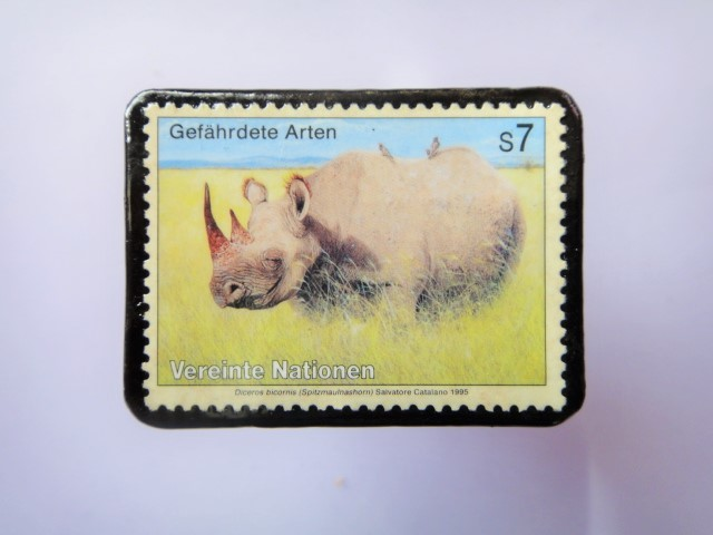 国連 野生保護 切手ブローチ 840