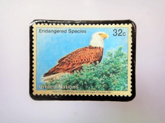 国連 野生保護 切手ブローチ 843