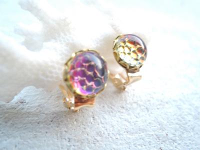 Sea bubble earring   ボルケーノ&ヘリオブルー