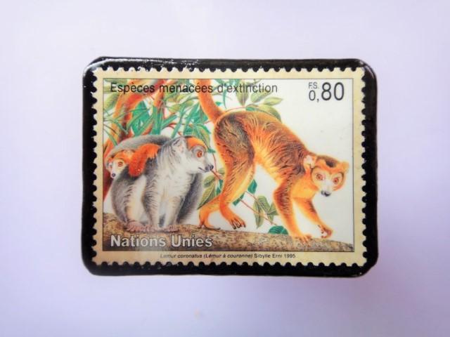 国連 野生保護 切手ブローチ 845