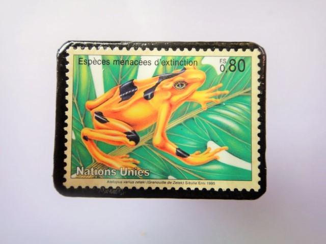 国連 野生保護 切手ブローチ 846
