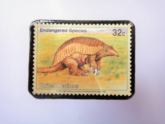 国連 野生保護 切手ブローチ 848