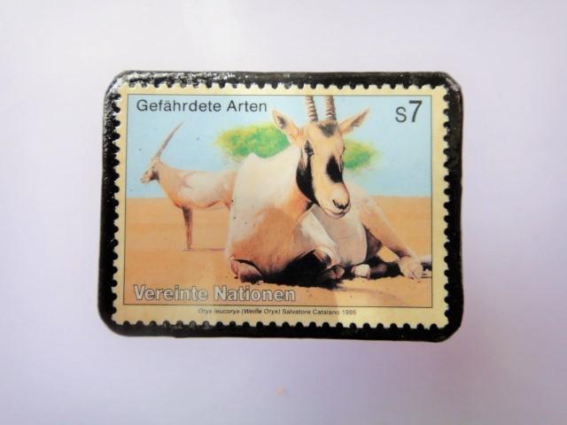 国連 野生保護 切手ブローチ 849