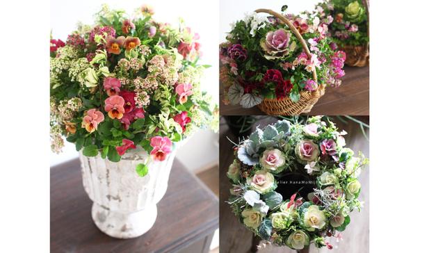 【オーダー】花と植物寄せ植えギャザリングM