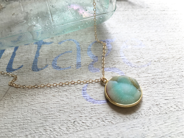 Lagoon Druzy Necklace 14kgf  ドゥルージー
