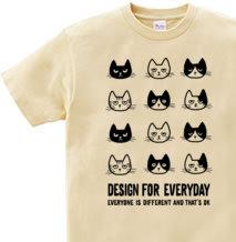 【再販】EVERYONE IS DIFFERENT AND THAT'S OK 〜ねこシリーズ〜 150.160(女性M.L) Tシャツ【受注生産品】
