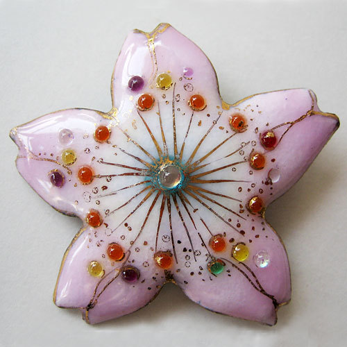 七宝焼ブローチ 桜の花(1)